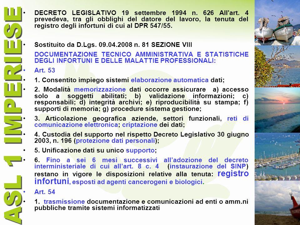 DECRETO LEGISLATIVO 19 settembre 1994 n. 626 All'art. 4 prevedeva, tra gli obblighi del datore del lavoro, la tenuta del registro degli infortuni di c
