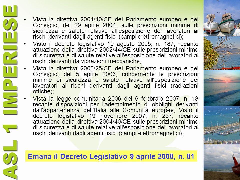 Vista la direttiva 2004/40/CE del Parlamento europeo e del Consiglio, del 29 aprile 2004, sulle prescrizioni minime di sicurezza e salute relative all