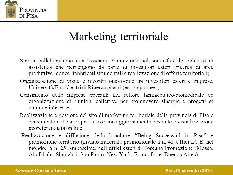 Assessore Graziano TuriniPisa, 19 novembre 2010 Marketing territoriale Stretta collaborazione con Toscana Promozione nel soddisfare le richieste di as