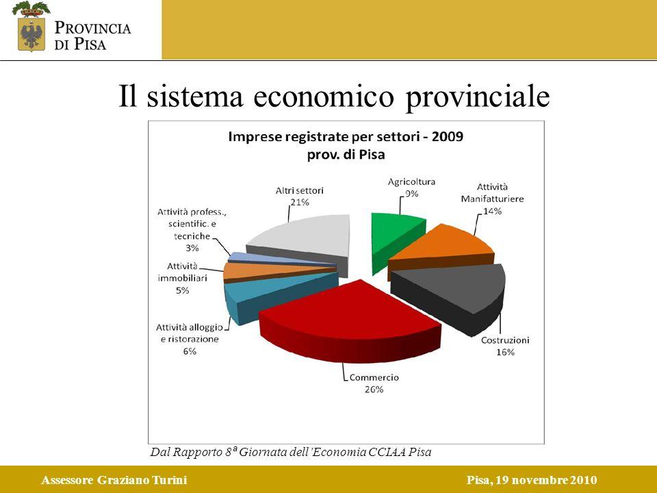 Assessore Graziano TuriniPisa, 19 novembre 2010 Il sistema economico provinciale Dal Rapporto 8 ª Giornata dellEconomia CCIAA Pisa