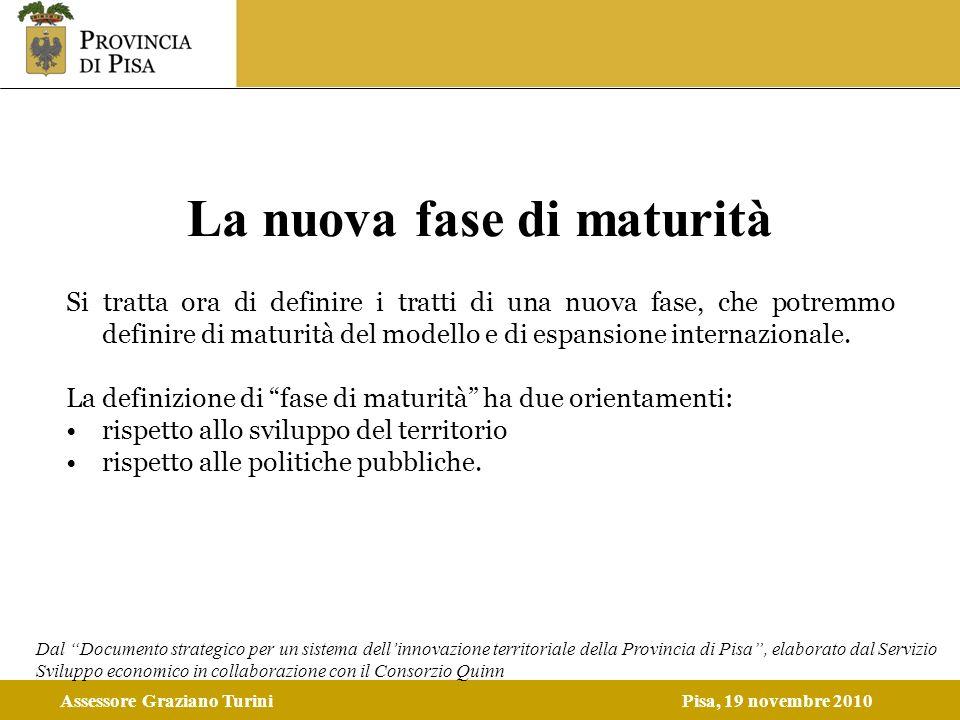 Assessore Graziano TuriniPisa, 19 novembre 2010 La nuova fase di maturità Si tratta ora di definire i tratti di una nuova fase, che potremmo definire