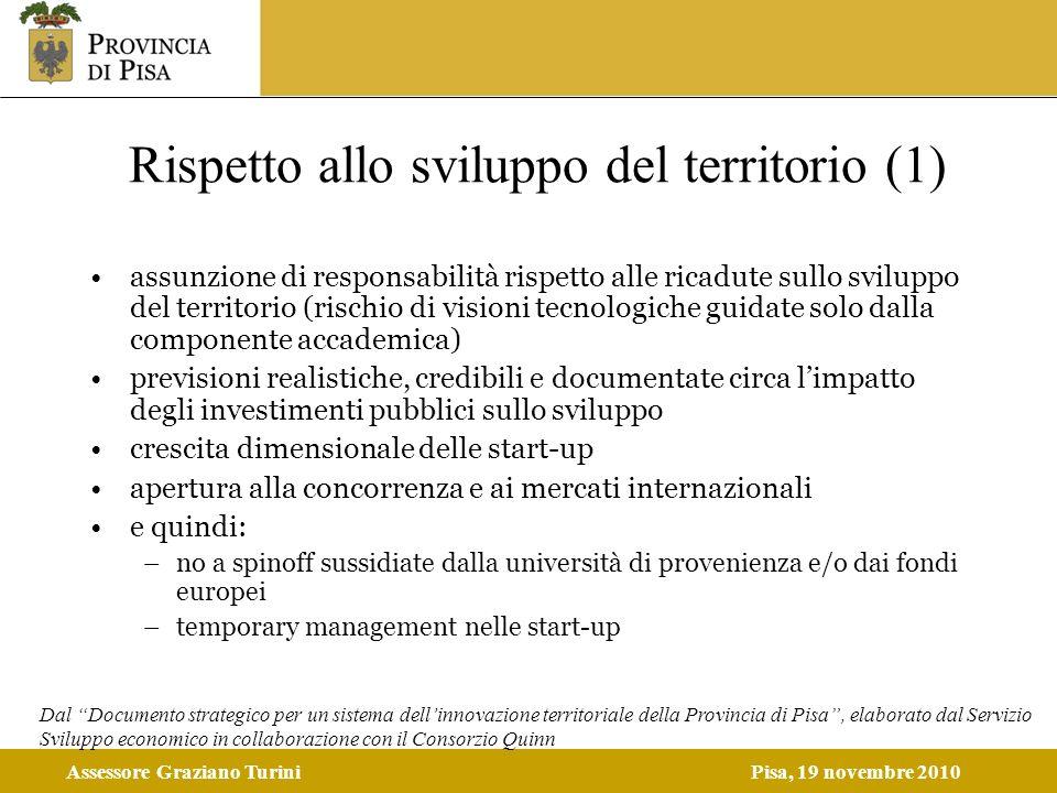 Assessore Graziano TuriniPisa, 19 novembre 2010 Rispetto allo sviluppo del territorio (1) assunzione di responsabilità rispetto alle ricadute sullo sv