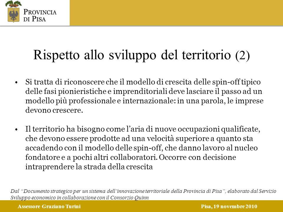 Assessore Graziano TuriniPisa, 19 novembre 2010 Rispetto allo sviluppo del territorio (2) Si tratta di riconoscere che il modello di crescita delle sp