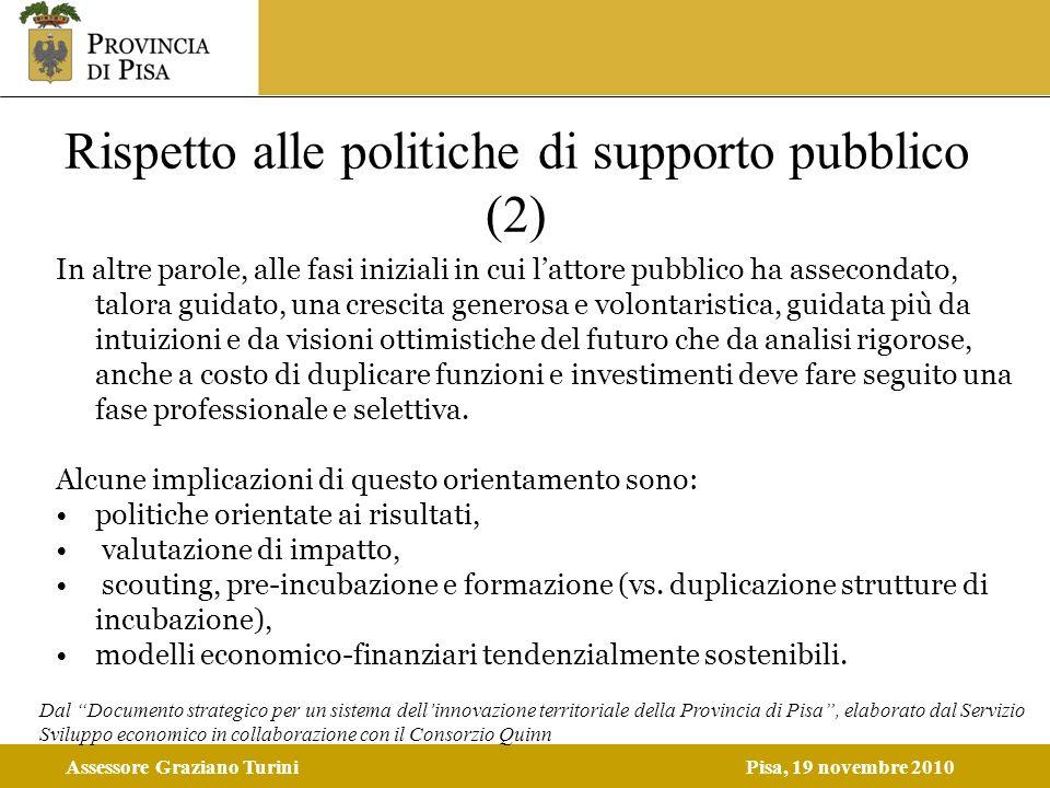 Assessore Graziano TuriniPisa, 19 novembre 2010 Rispetto alle politiche di supporto pubblico (2) In altre parole, alle fasi iniziali in cui lattore pu