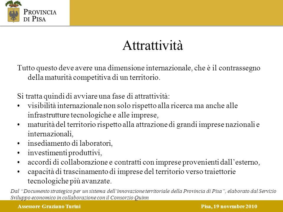 Assessore Graziano TuriniPisa, 19 novembre 2010 Attrattività Tutto questo deve avere una dimensione internazionale, che è il contrassegno della maturi