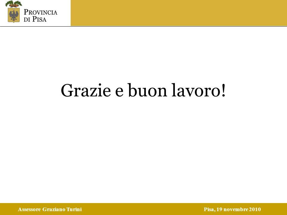 Assessore Graziano TuriniPisa, 19 novembre 2010 Grazie e buon lavoro!
