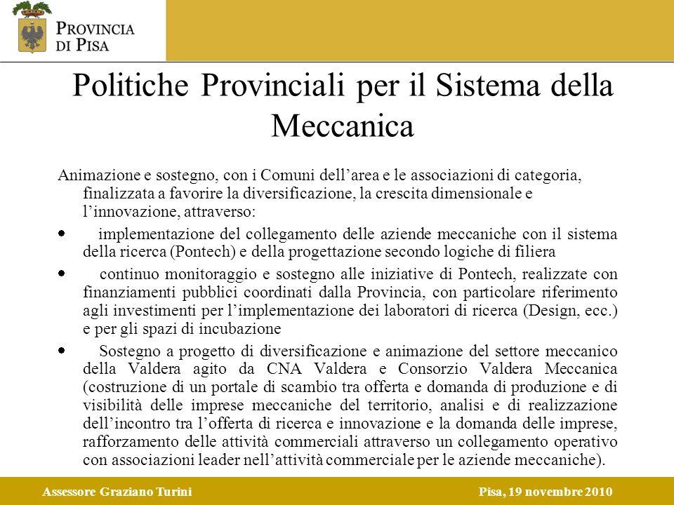 Assessore Graziano TuriniPisa, 19 novembre 2010 Politiche Provinciali per il Sistema della Meccanica Animazione e sostegno, con i Comuni dellarea e le