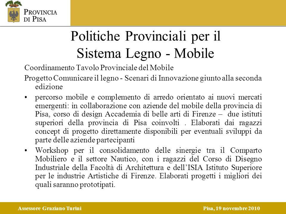 Assessore Graziano TuriniPisa, 19 novembre 2010 Politiche Provinciali per il Sistema Legno - Mobile Coordinamento Tavolo Provinciale del Mobile Proget