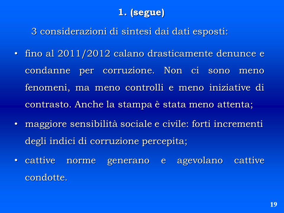 1. (segue) 1. (segue) 19 fino al 2011/2012 calano drasticamente denunce e condanne per corruzione. Non ci sono meno fenomeni, ma meno controlli e meno