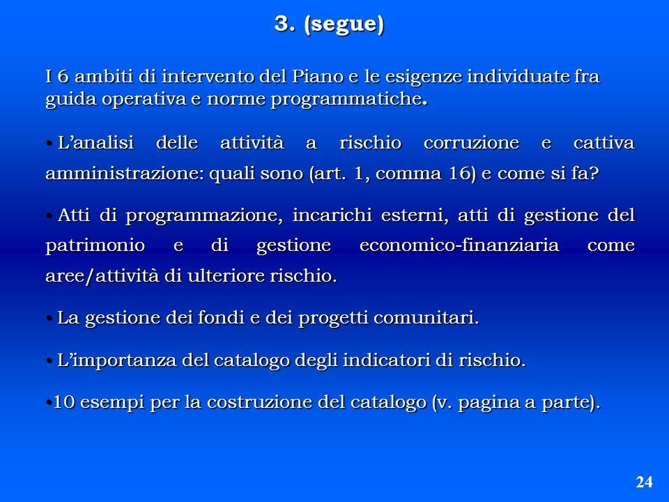 3. (segue) 24 I 6 ambiti di intervento del Piano e le esigenze individuate fra guida operativa e norme programmatiche. Lanalisi delle attività a risch