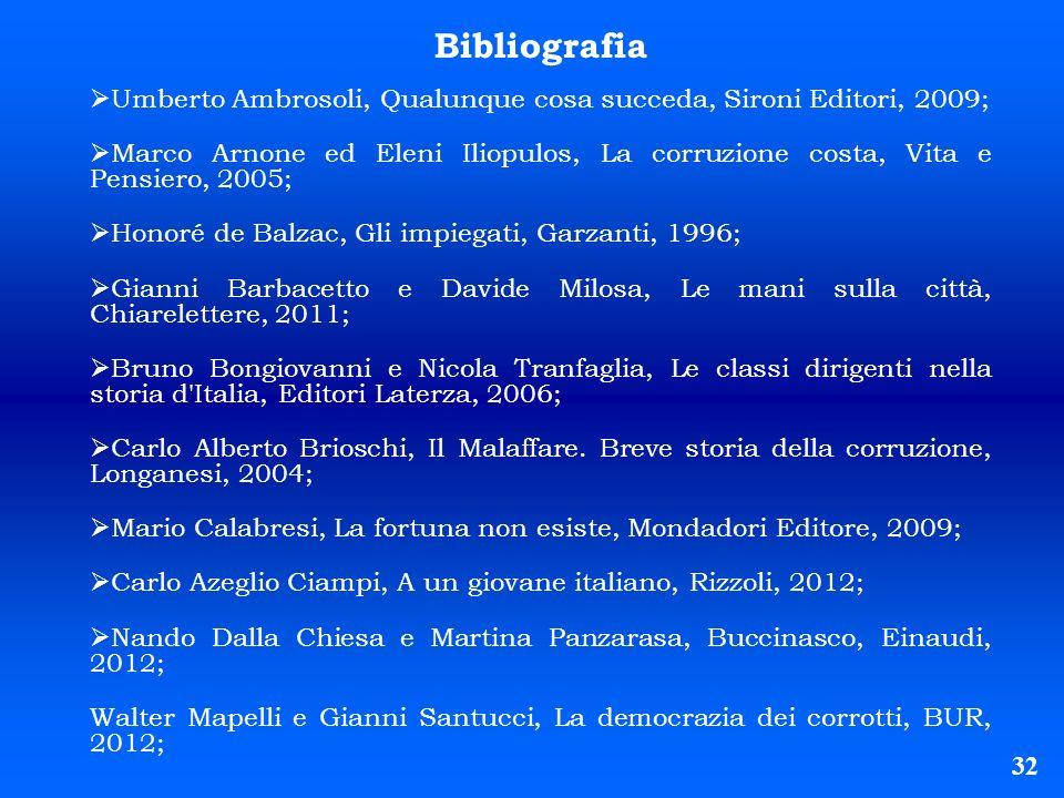 32 Bibliografia Umberto Ambrosoli, Qualunque cosa succeda, Sironi Editori, 2009; Marco Arnone ed Eleni Iliopulos, La corruzione costa, Vita e Pensiero