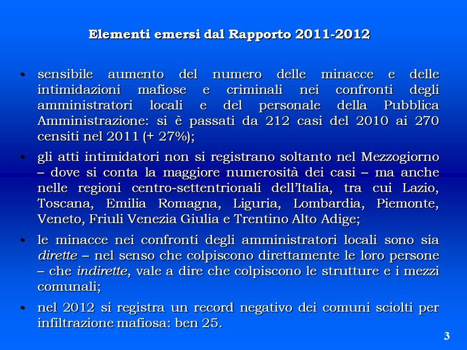 Elementi emersi dal Rapporto 2011-2012 sensibile aumento del numero delle minacce e delle intimidazioni mafiose e criminali nei confronti degli ammini