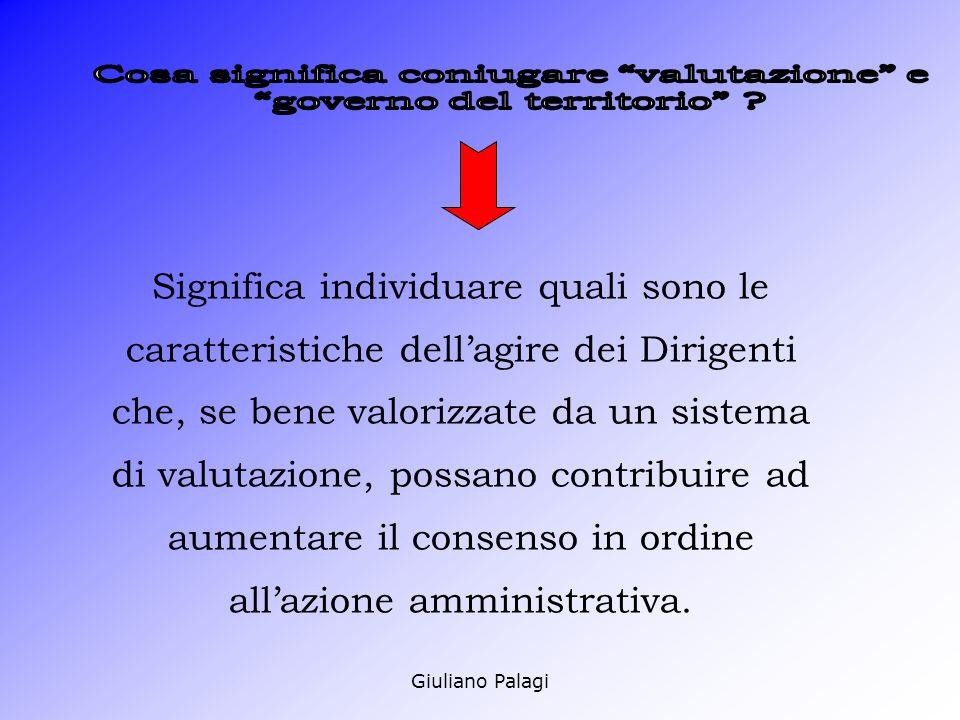 Giuliano Palagi Significa individuare quali sono le caratteristiche dellagire dei Dirigenti che, se bene valorizzate da un sistema di valutazione, possano contribuire ad aumentare il consenso in ordine allazione amministrativa.