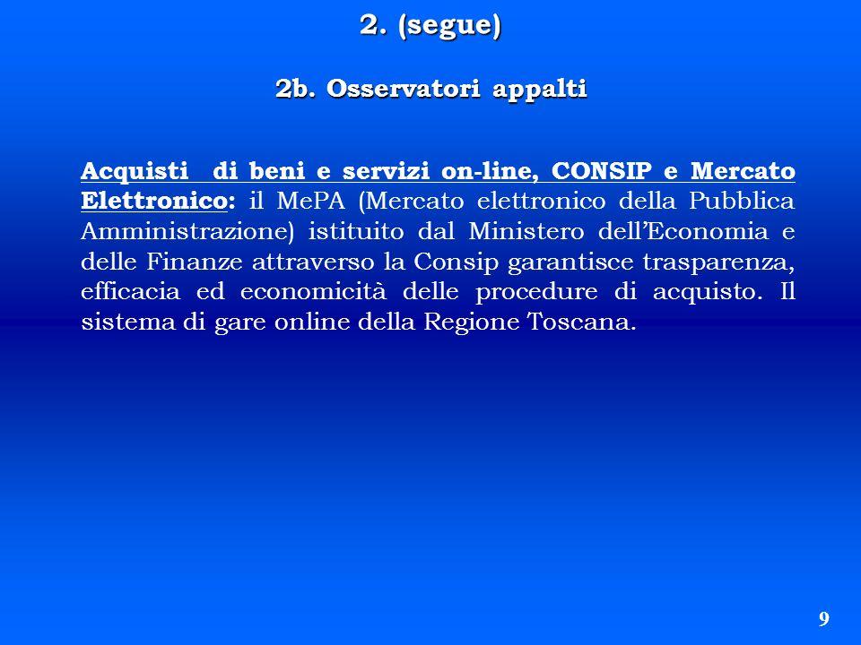2. (segue) 2b. Osservatori appalti 9 Acquisti di beni e servizi on-line, CONSIP e Mercato Elettronico: il MePA (Mercato elettronico della Pubblica Amm