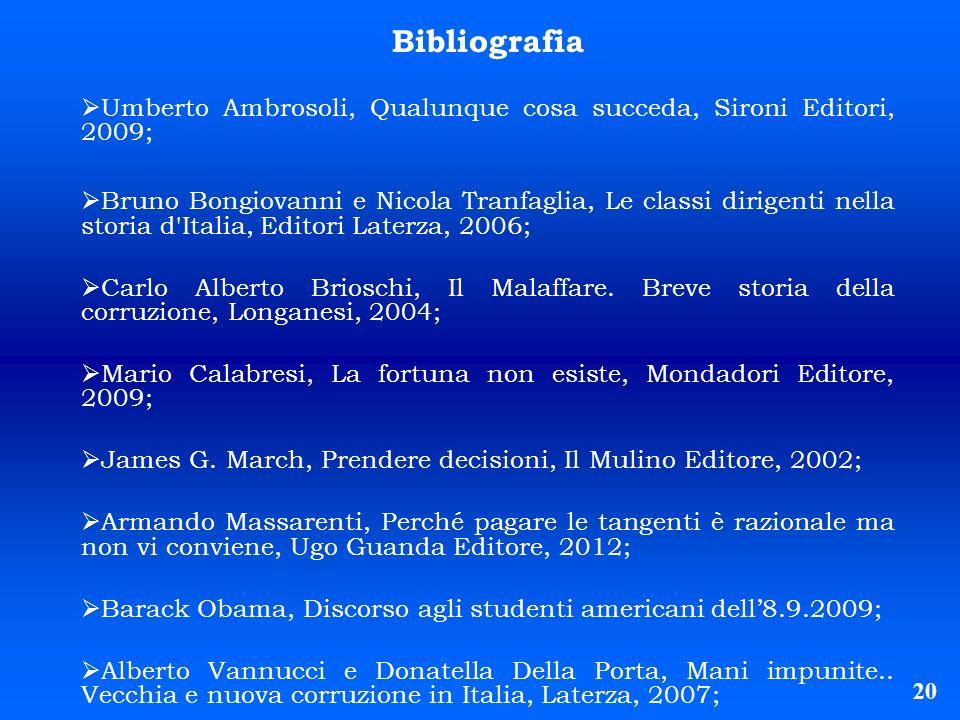 20 Bibliografia Umberto Ambrosoli, Qualunque cosa succeda, Sironi Editori, 2009; Bruno Bongiovanni e Nicola Tranfaglia, Le classi dirigenti nella stor