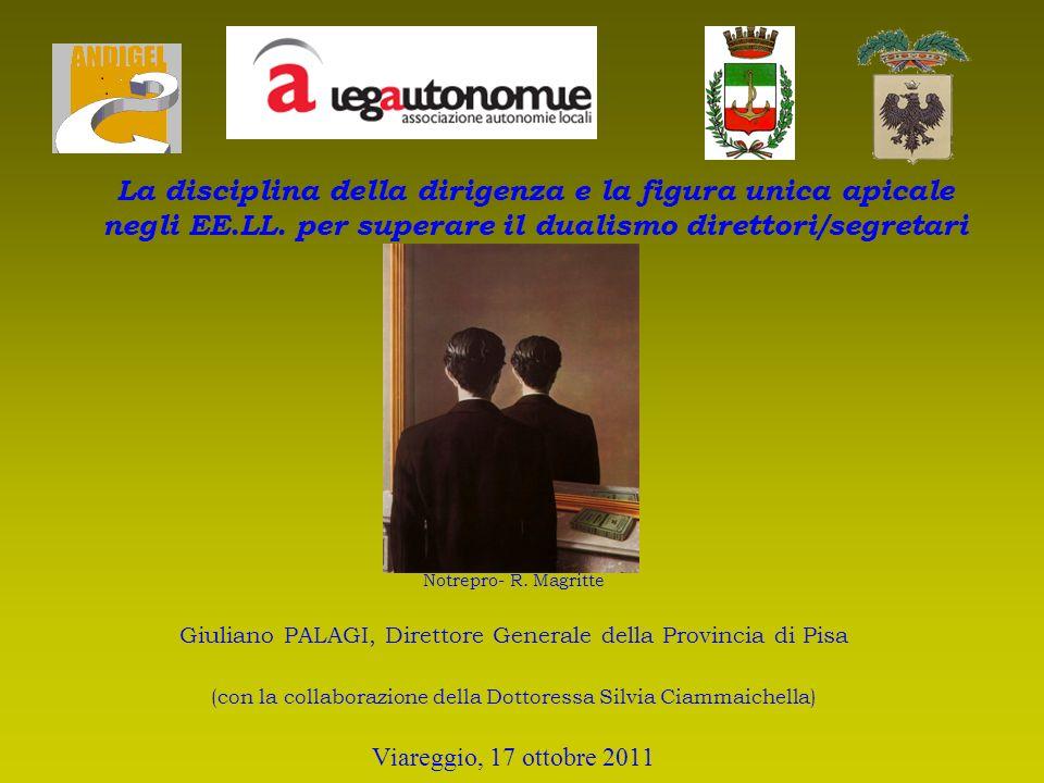 Notrepro- R. Magritte Giuliano PALAGI, Direttore Generale della Provincia di Pisa (con la collaborazione della Dottoressa Silvia Ciammaichella) Viareg