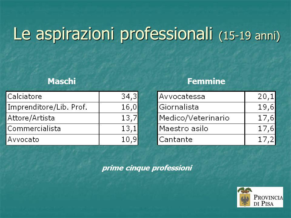 Le aspirazioni professionali (15-19 anni) MaschiFemmine prime cinque professioni