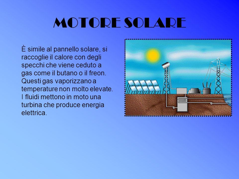 MOTORE SOLARE È simile al pannello solare, si raccoglie il calore con degli specchi che viene ceduto a gas come il butano o il freon. Questi gas vapor