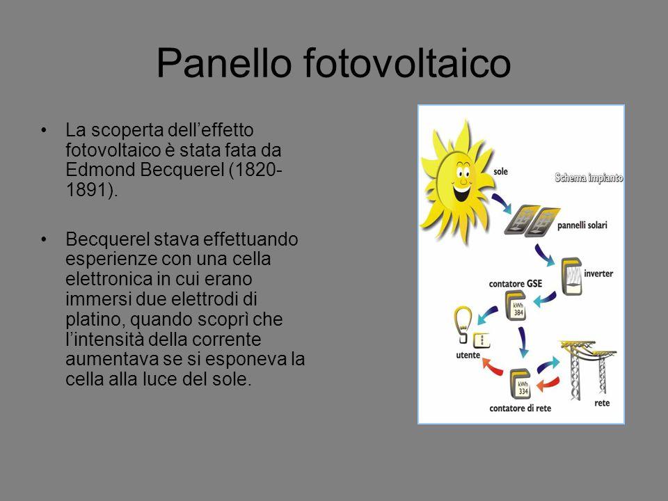 Panello fotovoltaico La scoperta delleffetto fotovoltaico è stata fata da Edmond Becquerel (1820- 1891). Becquerel stava effettuando esperienze con un