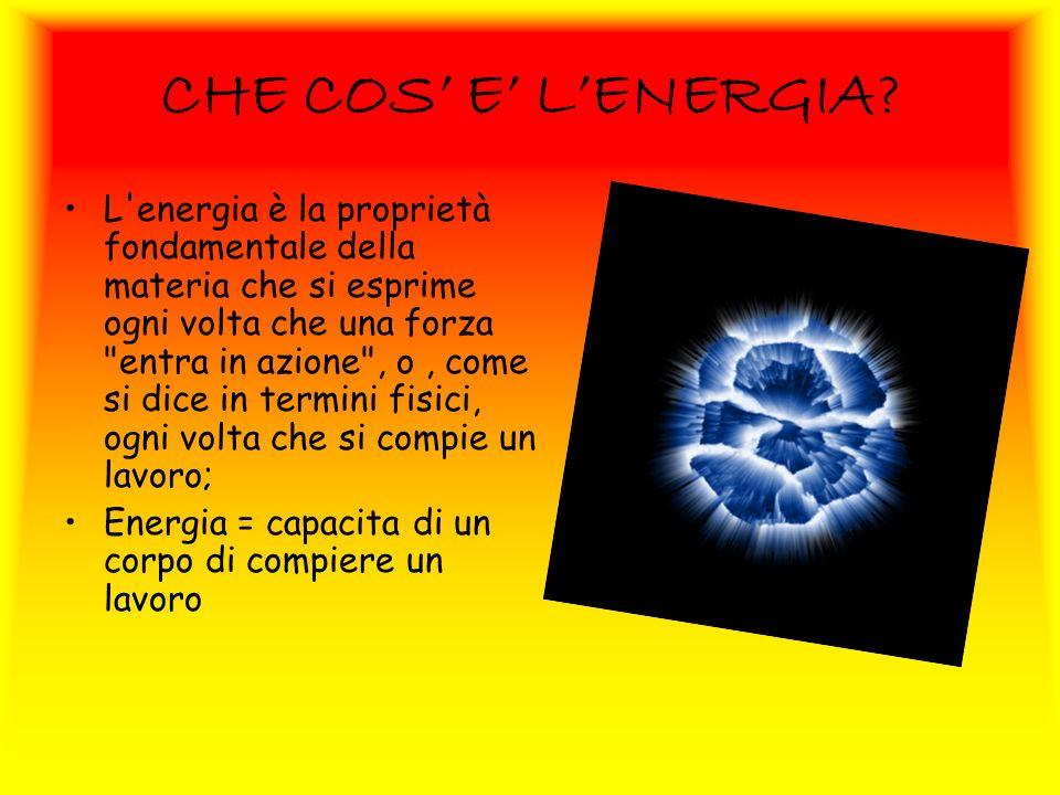 CHE COS E LENERGIA? L'energia è la proprietà fondamentale della materia che si esprime ogni volta che una forza