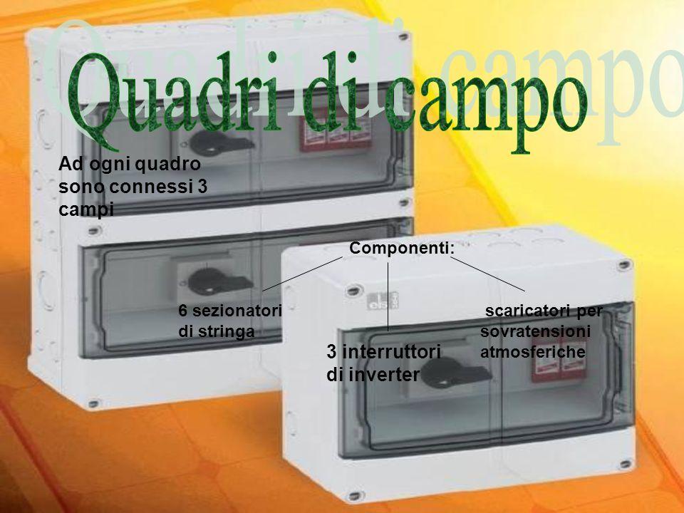 Ad ogni quadro sono connessi 3 campi Componenti: 6 sezionatori di stringa 3 interruttori di inverter scaricatori per sovratensioni atmosferiche