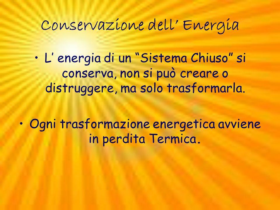 Conservazione dell Energia L energia di un Sistema Chiuso si conserva, non si può creare o distruggere, ma solo trasformarla. Ogni trasformazione ener