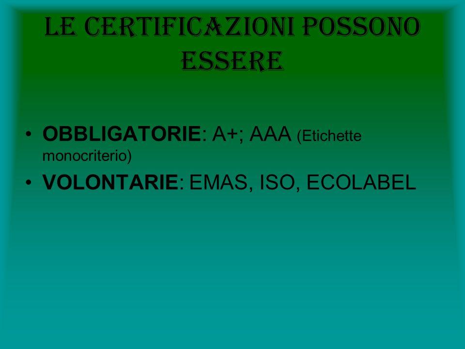 Le certificazioni possono essere OBBLIGATORIE: A+; AAA (Etichette monocriterio) VOLONTARIE: EMAS, ISO, ECOLABEL