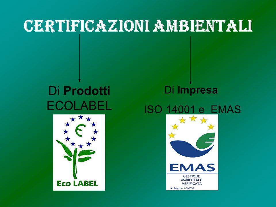 Certificazioni Ambientali Di Prodotti ECOLABEL Di Impresa ISO 14001 e EMAS