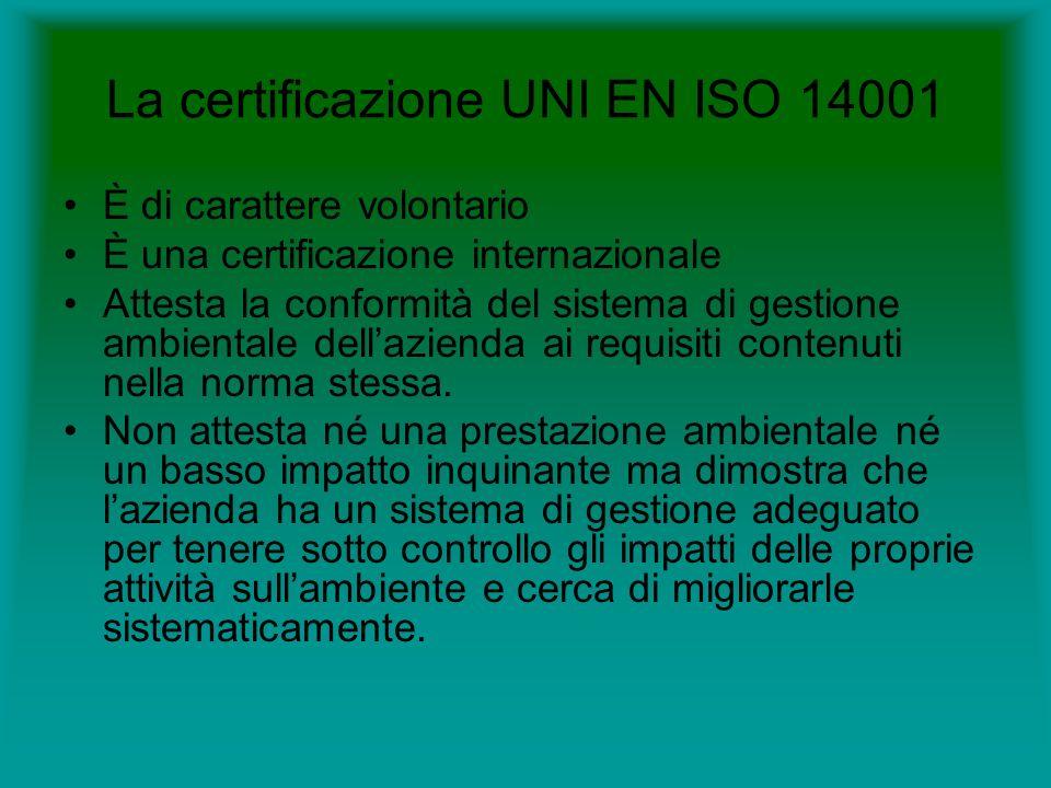 La certificazione UNI EN ISO 14001 È di carattere volontario È una certificazione internazionale Attesta la conformità del sistema di gestione ambientale dellazienda ai requisiti contenuti nella norma stessa.