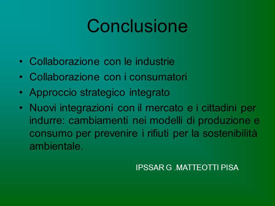 Conclusione Collaborazione con le industrie Collaborazione con i consumatori Approccio strategico integrato Nuovi integrazioni con il mercato e i cittadini per indurre: cambiamenti nei modelli di produzione e consumo per prevenire i rifiuti per la sostenibilità ambientale.