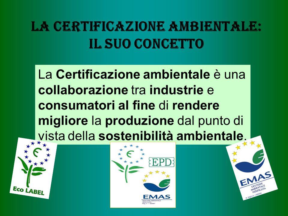 La certificazione Ambientale: il suo Concetto La Certificazione ambientale è una collaborazione tra industrie e consumatori al fine di rendere migliore la produzione dal punto di vista della sostenibilità ambientale.