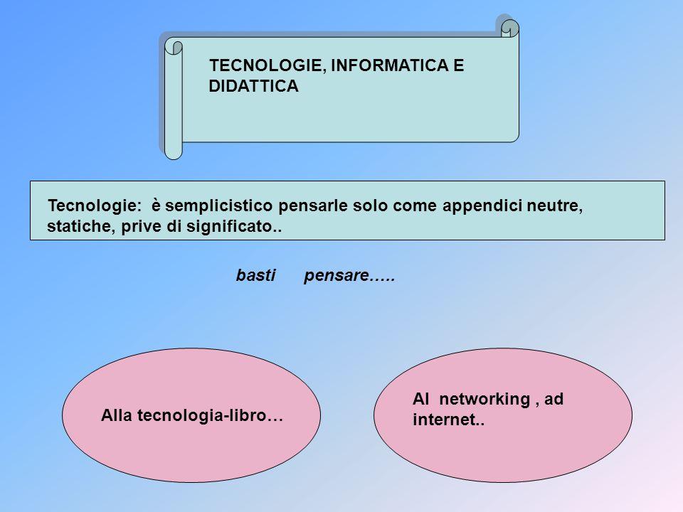 TECNOLOGIE, INFORMATICA E DIDATTICA Tecnologie: è semplicistico pensarle solo come appendici neutre, statiche, prive di significato.. basti pensare…..