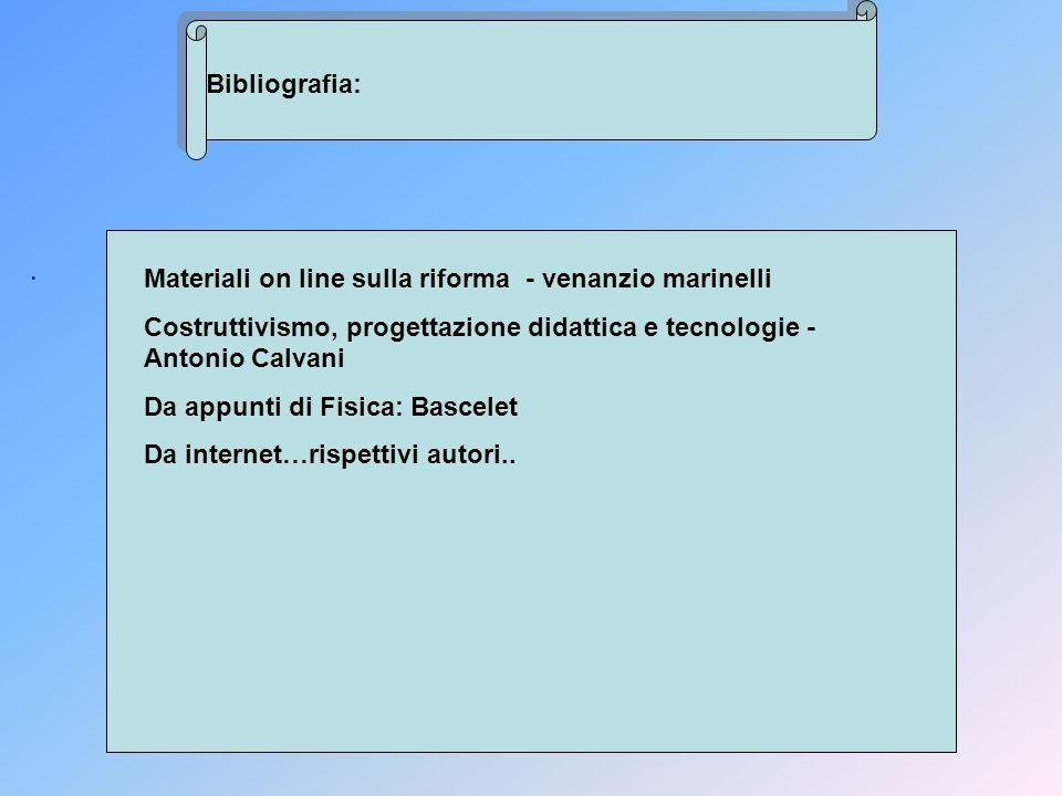 Bibliografia:. Materiali on line sulla riforma - venanzio marinelli Costruttivismo, progettazione didattica e tecnologie - Antonio Calvani Da appunti