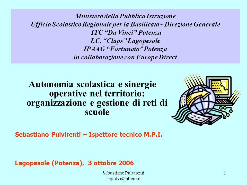 Sebastiano Pulvirenti sepulvi@libero.it 1 Ministero della Pubblica Istruzione Ufficio Scolastico Regionale per la Basilicata - Direzione Generale ITC