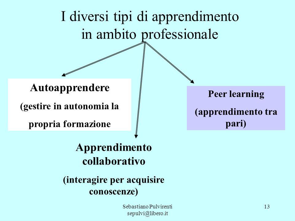 Sebastiano Pulvirenti sepulvi@libero.it 13 Autoapprendere (gestire in autonomia la propria formazione Apprendimento collaborativo (interagire per acqu