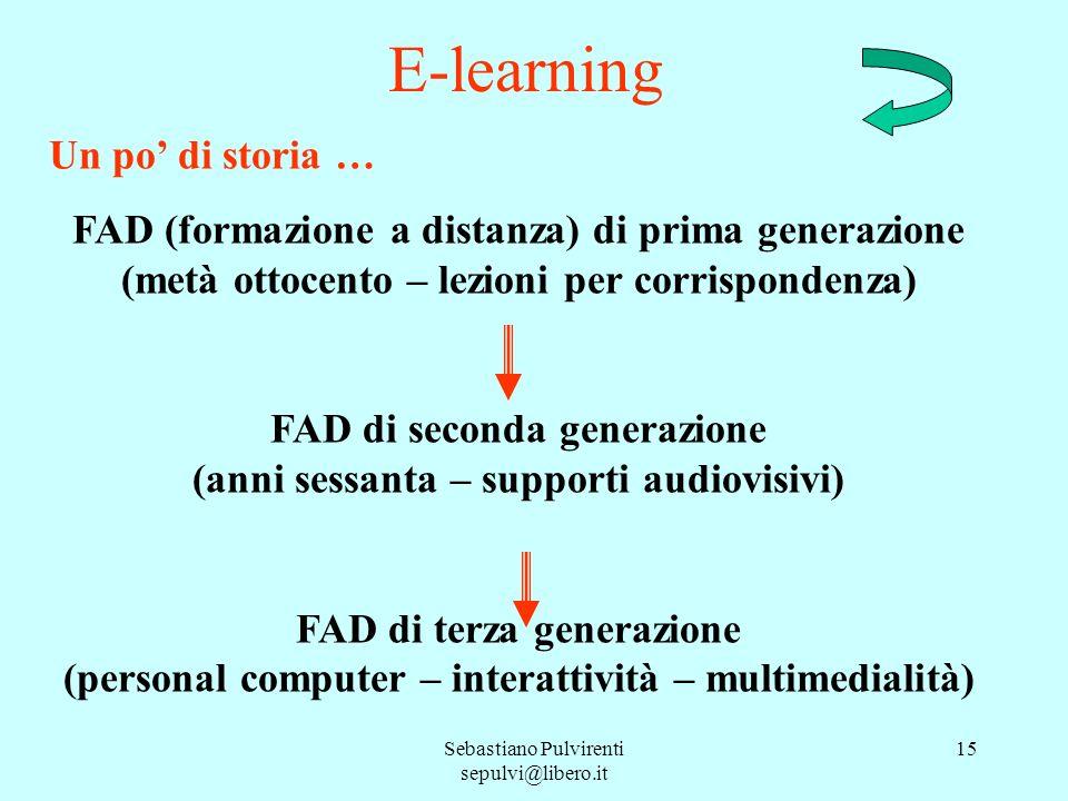 Sebastiano Pulvirenti sepulvi@libero.it 15 E-learning Un po di storia … FAD (formazione a distanza) di prima generazione (metà ottocento – lezioni per
