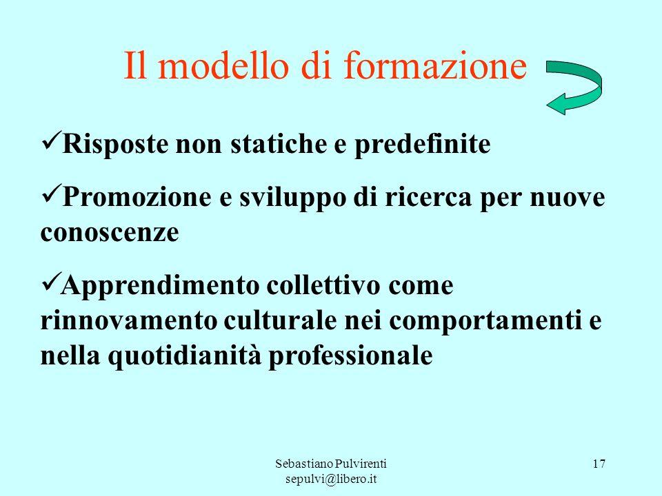 Sebastiano Pulvirenti sepulvi@libero.it 17 Il modello di formazione Risposte non statiche e predefinite Promozione e sviluppo di ricerca per nuove con