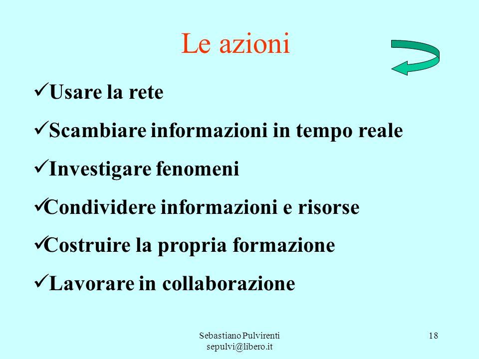 Sebastiano Pulvirenti sepulvi@libero.it 18 Le azioni Usare la rete Scambiare informazioni in tempo reale Investigare fenomeni Condividere informazioni