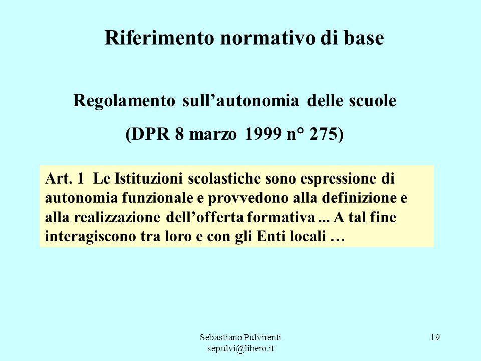 Sebastiano Pulvirenti sepulvi@libero.it 19 Riferimento normativo di base Regolamento sullautonomia delle scuole (DPR 8 marzo 1999 n° 275) Art. 1 Le Is
