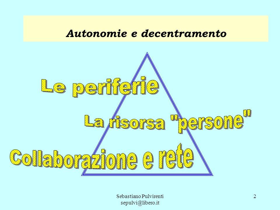 Sebastiano Pulvirenti sepulvi@libero.it 2 Autonomie e decentramento