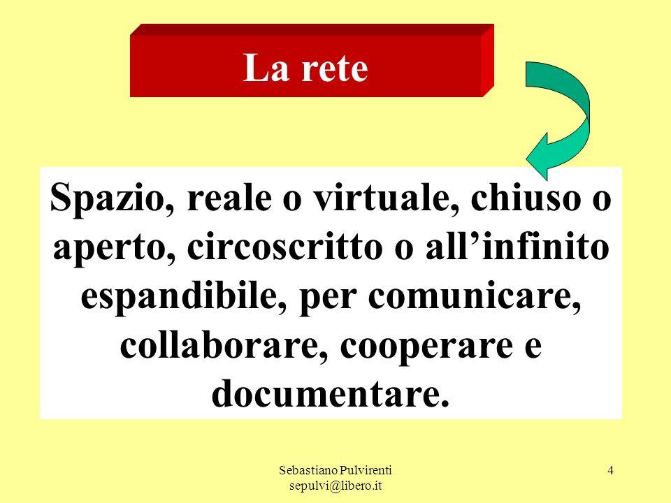 Sebastiano Pulvirenti sepulvi@libero.it 4 La rete Spazio, reale o virtuale, chiuso o aperto, circoscritto o allinfinito espandibile, per comunicare, c