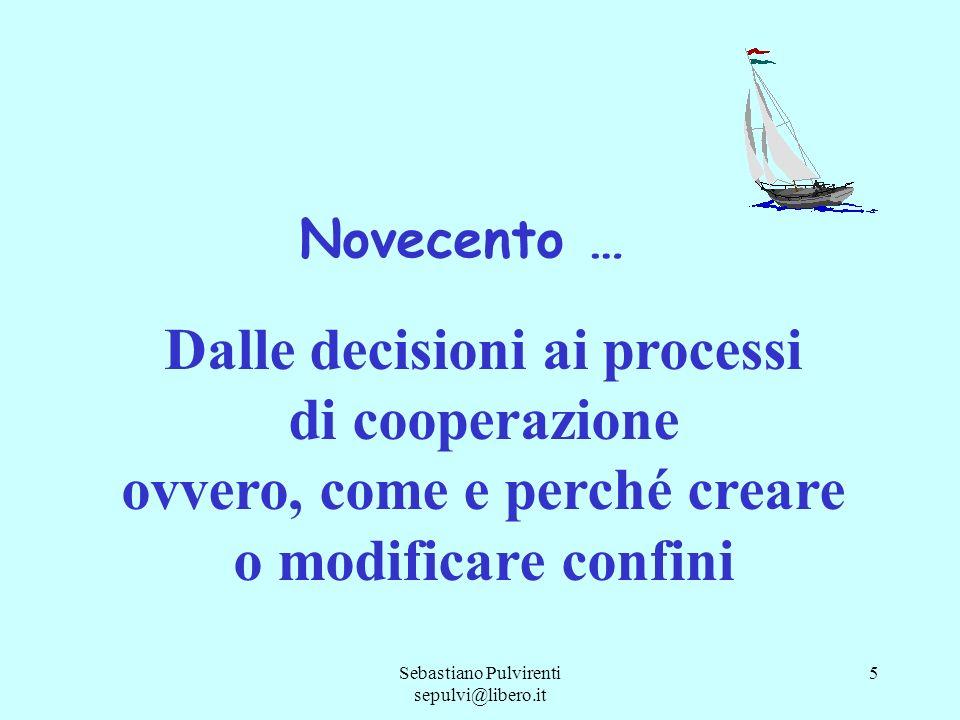 Sebastiano Pulvirenti sepulvi@libero.it 5 Novecento … Dalle decisioni ai processi di cooperazione ovvero, come e perché creare o modificare confini