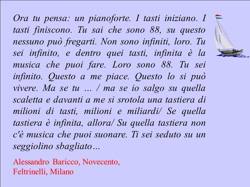 Sebastiano Pulvirenti sepulvi@libero.it 8 Ora tu pensa: un pianoforte. I tasti iniziano. I tasti finiscono. Tu sai che sono 88, su questo nessuno può