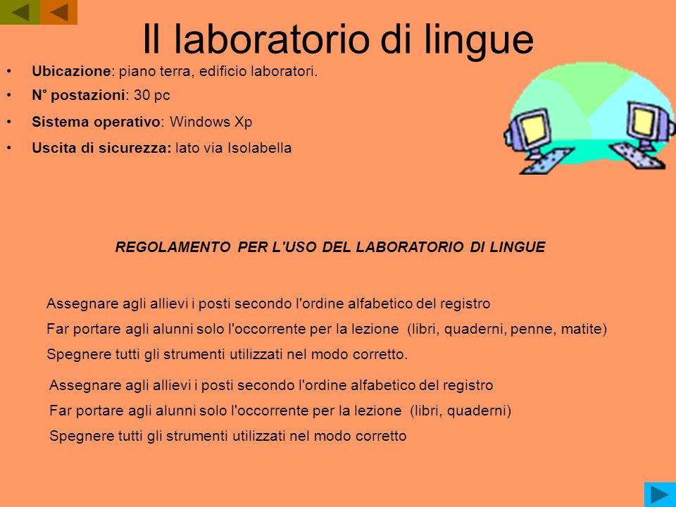 Il laboratorio di lingue Ubicazione: piano terra, edificio laboratori. N° postazioni: 30 pc Sistema operativo: Windows Xp Uscita di sicurezza: lato vi