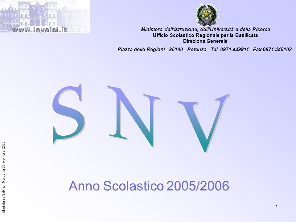 Marialuisa Sabino, Marconia 23 nvembre 2005 1 Anno Scolastico 2005/2006 Ministero dellIstruzione, dellUniversità e della Ricerca Ufficio Scolastico Re