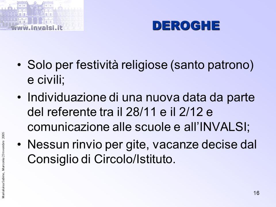 Marialuisa Sabino, Marconia 23 nvembre 2005 16 DEROGHE Solo per festività religiose (santo patrono) e civili; Individuazione di una nuova data da part
