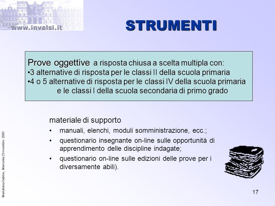 Marialuisa Sabino, Marconia 23 nvembre 2005 17 STRUMENTI materiale di supporto manuali, elenchi, moduli somministrazione, ecc.; questionario insegnant