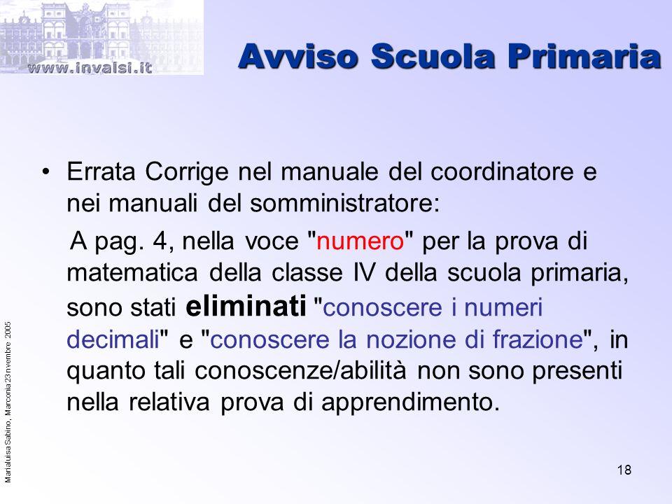Marialuisa Sabino, Marconia 23 nvembre 2005 18 Avviso Scuola Primaria Errata Corrige nel manuale del coordinatore e nei manuali del somministratore: A