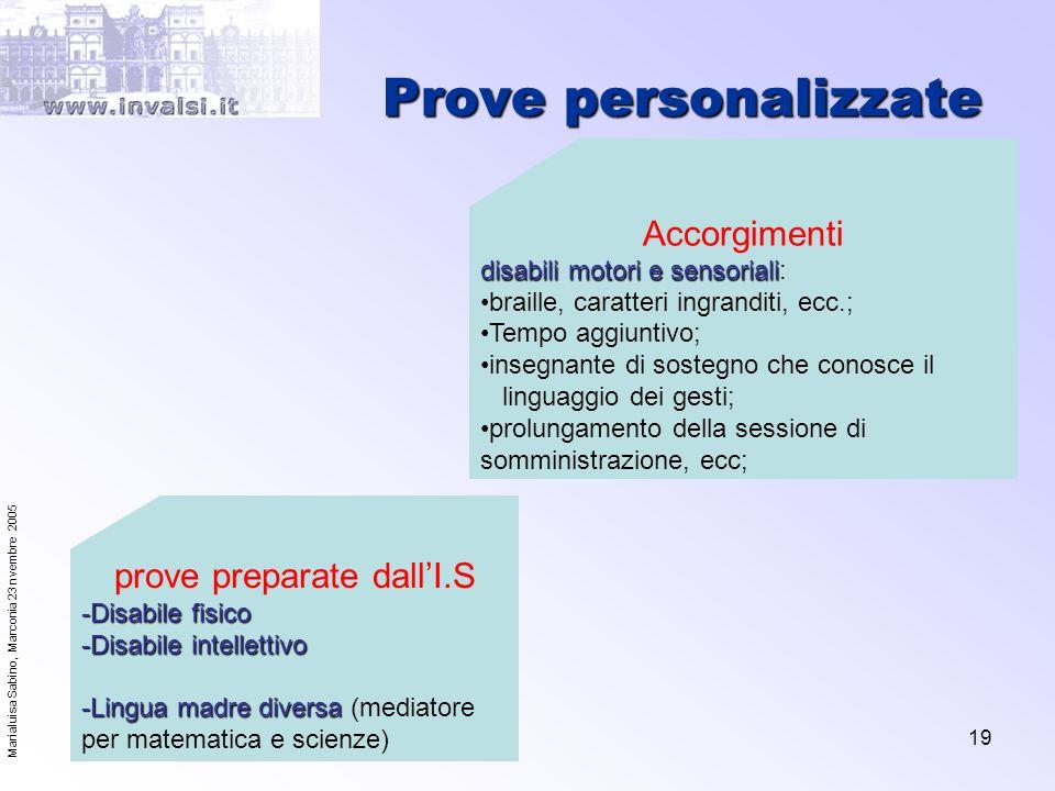 Marialuisa Sabino, Marconia 23 nvembre 2005 19 Prove personalizzate Accorgimenti disabili motori e sensoriali disabili motori e sensoriali: braille, c