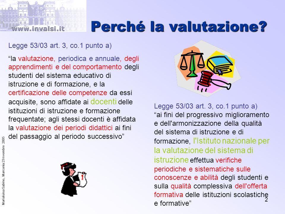 Marialuisa Sabino, Marconia 23 nvembre 2005 2 Perché la valutazione? Legge 53/03 art. 3, co.1 punto a) la valutazione, periodica e annuale, degli appr